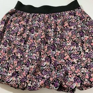 Maurices Pink & Purple Floral Bubble Mini Skirt